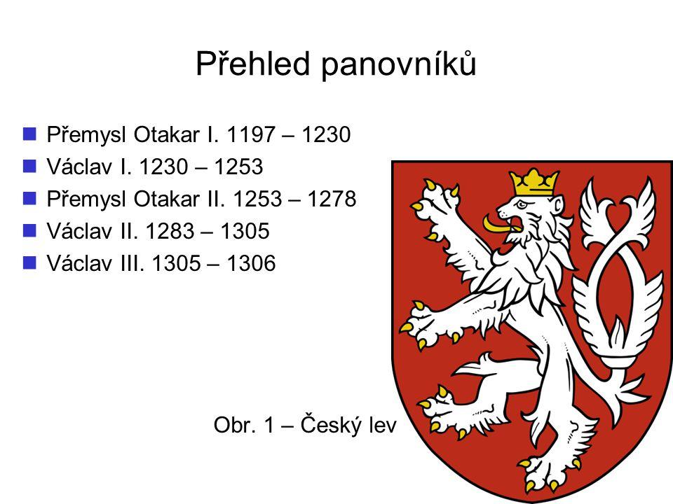 Přehled panovníků Přemysl Otakar I.1197 – 1230 Václav I.