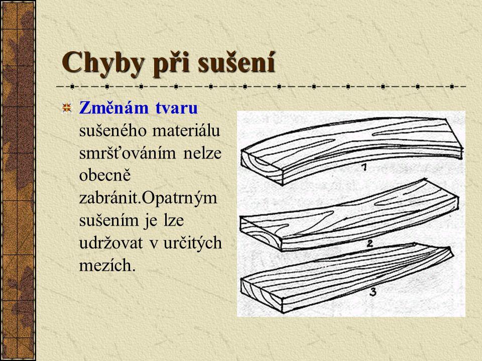 Chyby při sušení Při sušení dřeva může dojít k různým chybám. Znamenají téměř vždy větší či menší snížení kvality dřeva. Zatímco při přirozeném sušení