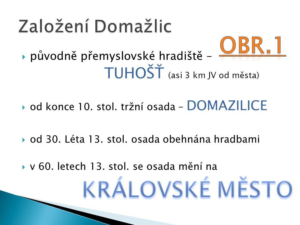  původně přemyslovské hradiště – TUHOŠŤ (asi 3 km JV od města)  od konce 10.