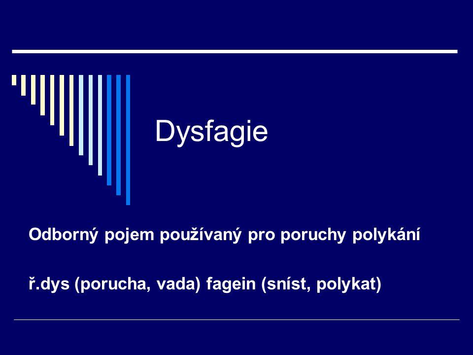 Dysfagie Odborný pojem používaný pro poruchy polykání ř.dys (porucha, vada) fagein (sníst, polykat)