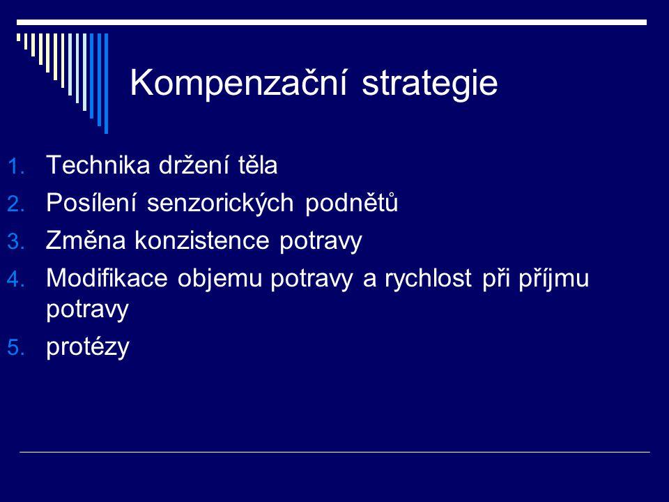 Kompenzační strategie 1. Technika držení těla 2. Posílení senzorických podnětů 3. Změna konzistence potravy 4. Modifikace objemu potravy a rychlost př