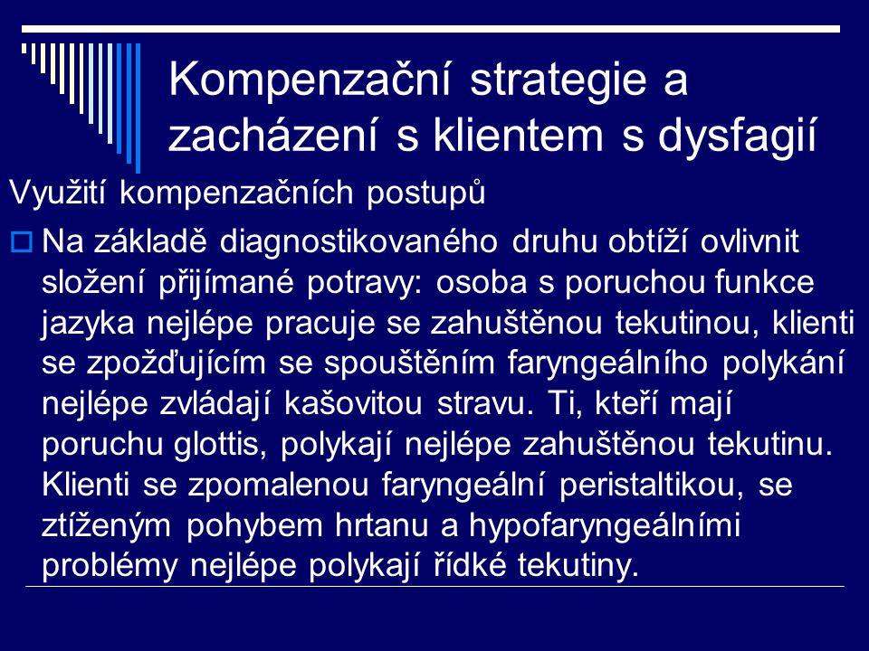 Kompenzační strategie a zacházení s klientem s dysfagií Využití kompenzačních postupů  Na základě diagnostikovaného druhu obtíží ovlivnit složení při