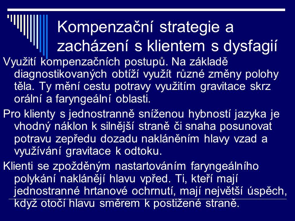 Kompenzační strategie a zacházení s klientem s dysfagií Využití kompenzačních postupů. Na základě diagnostikovaných obtíží využít různé změny polohy t