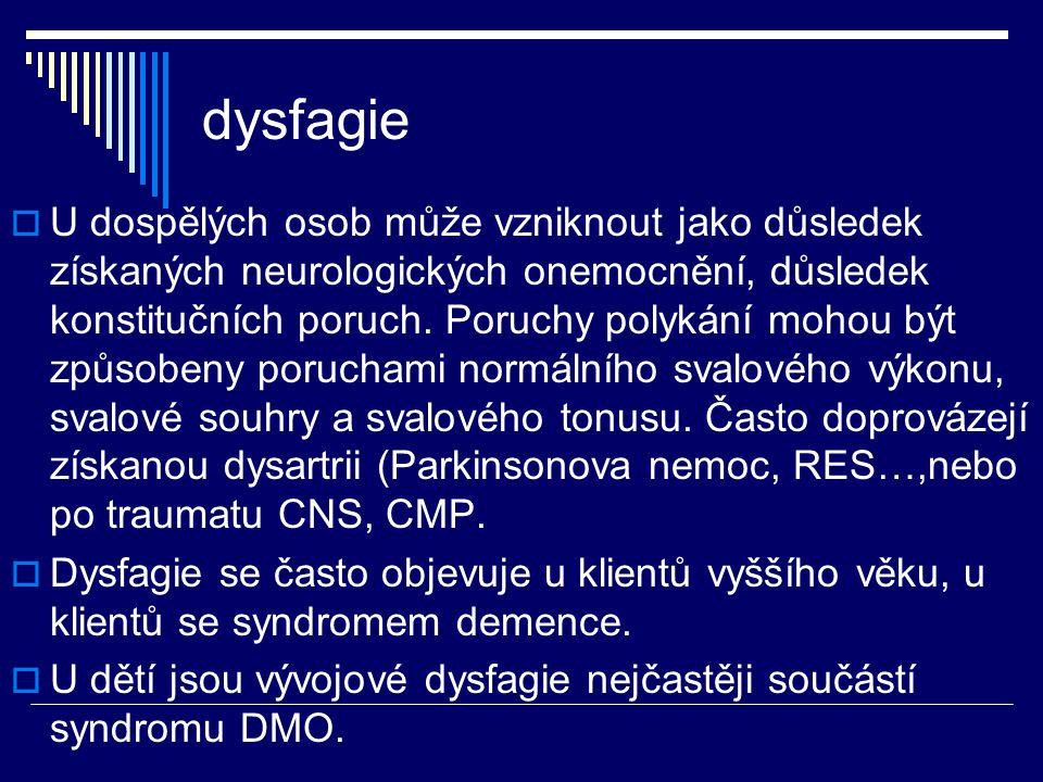 dysfagie  U dospělých osob může vzniknout jako důsledek získaných neurologických onemocnění, důsledek konstitučních poruch. Poruchy polykání mohou bý