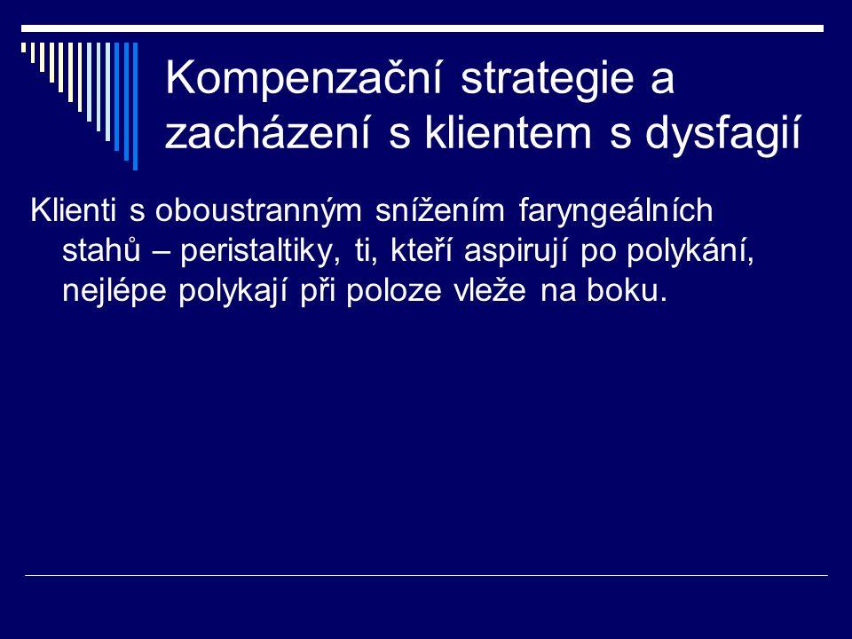 Kompenzační strategie a zacházení s klientem s dysfagií Klienti s oboustranným snížením faryngeálních stahů – peristaltiky, ti, kteří aspirují po poly