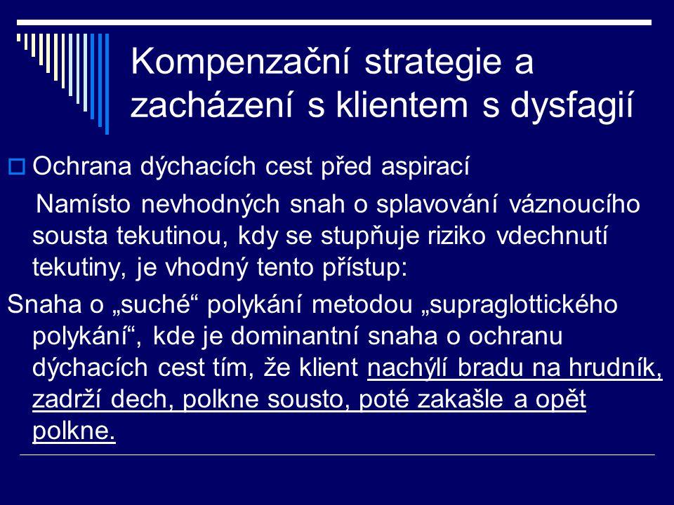 Kompenzační strategie a zacházení s klientem s dysfagií  Ochrana dýchacích cest před aspirací Namísto nevhodných snah o splavování váznoucího sousta