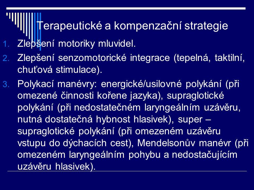 Terapeutické a kompenzační strategie 1. Zlepšení motoriky mluvidel. 2. Zlepšení senzomotorické integrace (tepelná, taktilní, chuťová stimulace). 3. Po