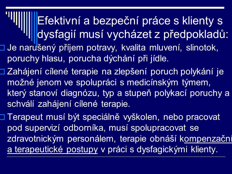 Efektivní a bezpeční práce s klienty s dysfagií musí vycházet z předpokladů:  Je narušený příjem potravy, kvalita mluvení, slinotok, poruchy hlasu, p