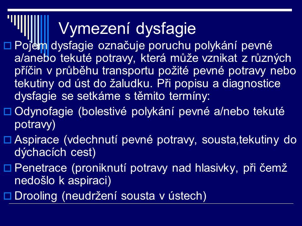 Vymezení dysfagie  Pojem dysfagie označuje poruchu polykání pevné a/anebo tekuté potravy, která může vznikat z různých příčin v průběhu transportu po