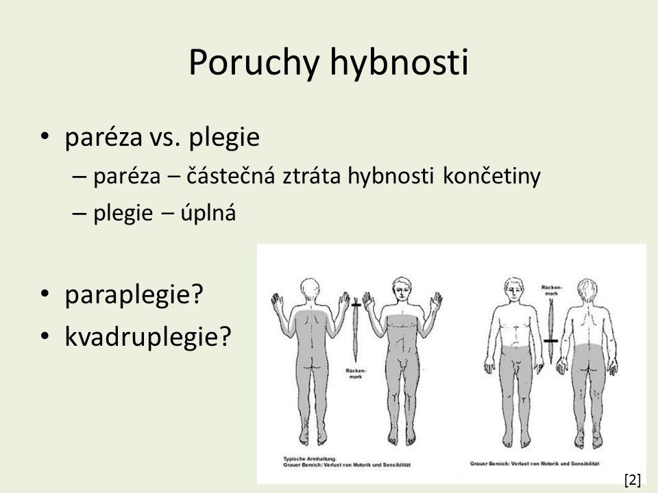 Poruchy hybnosti paréza vs. plegie – paréza – částečná ztráta hybnosti končetiny – plegie – úplná paraplegie? kvadruplegie? [2][2]