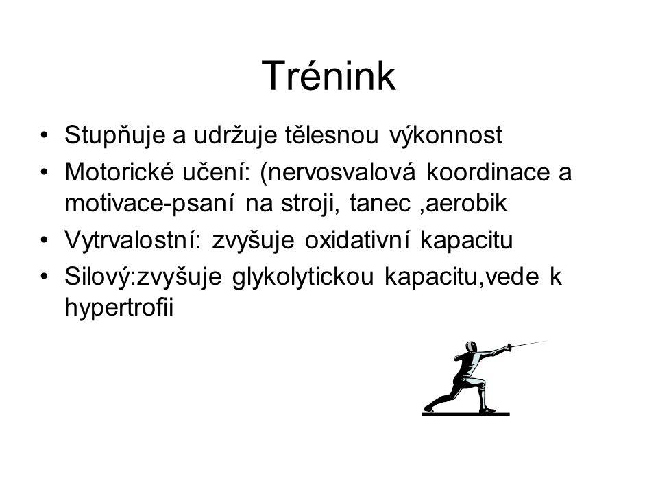 Trénink Stupňuje a udržuje tělesnou výkonnost Motorické učení: (nervosvalová koordinace a motivace-psaní na stroji, tanec,aerobik Vytrvalostní: zvyšuj