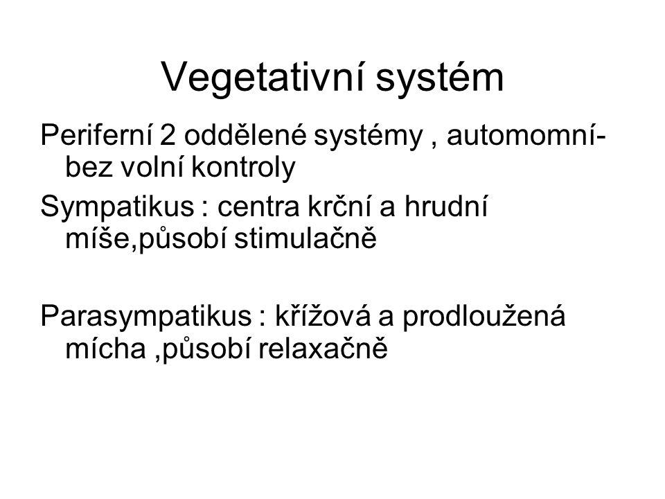 Vegetativní systém Periferní 2 oddělené systémy, automomní- bez volní kontroly Sympatikus : centra krční a hrudní míše,působí stimulačně Parasympatiku