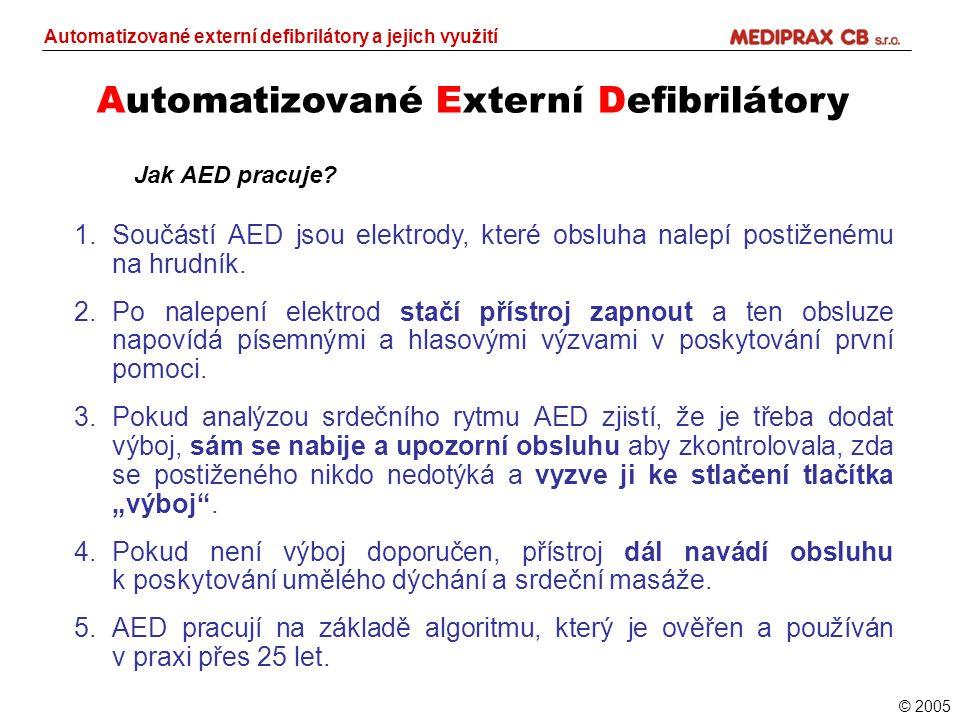 Automatizované Externí Defibrilátory Automatizované externí defibrilátory a jejich využití © 2005 Jak AED pracuje? 1.Součástí AED jsou elektrody, kter