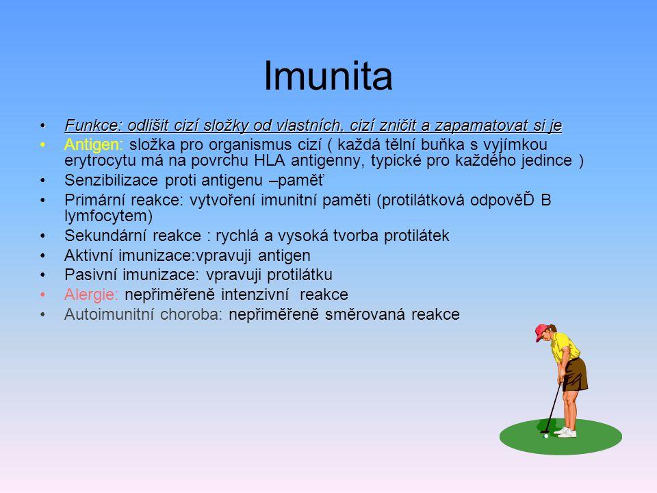 Imunita Funkce: odlišit cizí složky od vlastních, cizí zničit a zapamatovat si jeFunkce: odlišit cizí složky od vlastních, cizí zničit a zapamatovat s