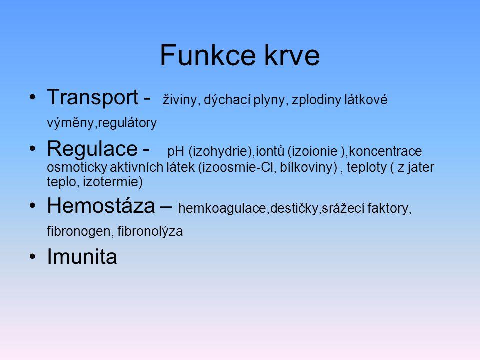 Funkce krve Transport - živiny, dýchací plyny, zplodiny látkové výměny,regulátory Regulace - pH (izohydrie),iontů (izoionie ),koncentrace osmoticky ak