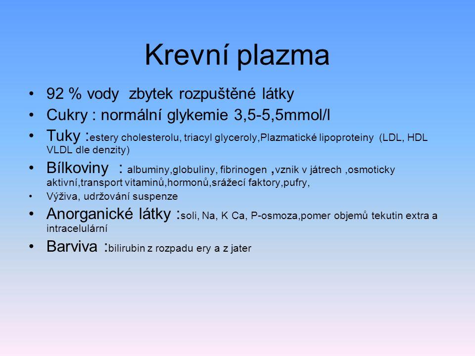 Krevní plazma 92 % vody zbytek rozpuštěné látky Cukry : normální glykemie 3,5-5,5mmol/l Tuky : estery cholesterolu, triacyl glyceroly,Plazmatické lipo