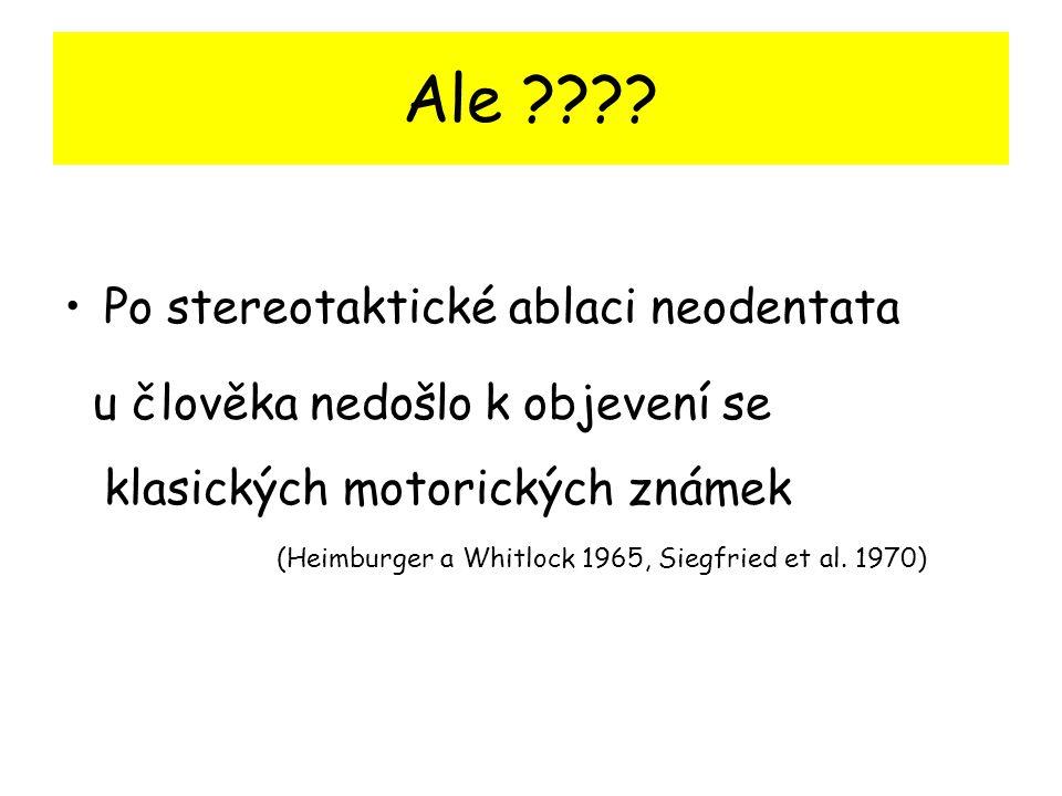 Ale ???? Po stereotaktické ablaci neodentata u člověka nedošlo k objevení se klasických motorických známek (Heimburger a Whitlock 1965, Siegfried et a