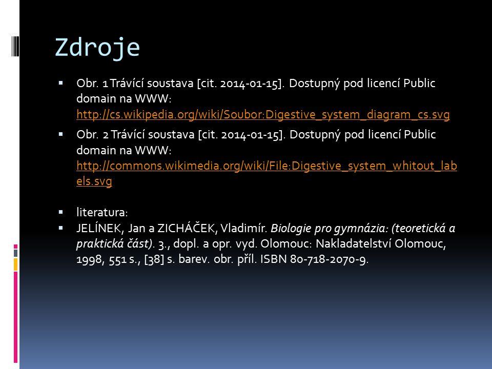 Zdroje  Obr. 1 Trávící soustava [cit. 2014-01-15]. Dostupný pod licencí Public domain na WWW: http://cs.wikipedia.org/wiki/Soubor:Digestive_system_di