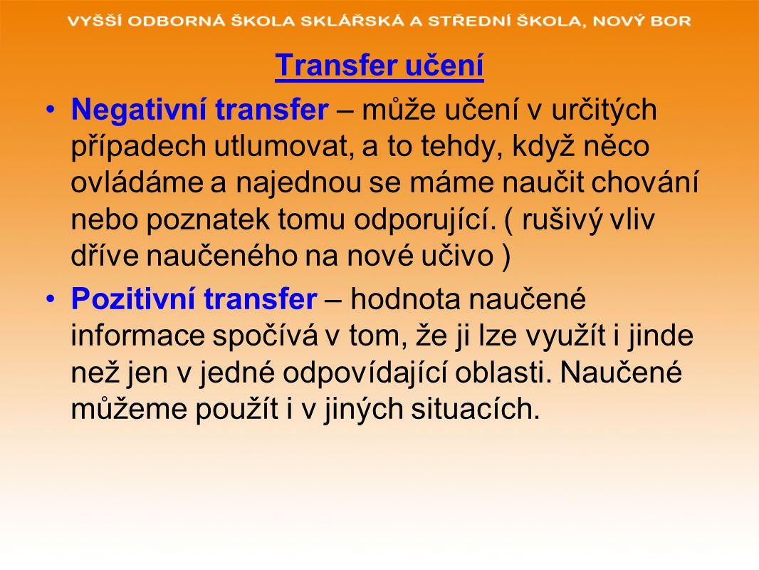 Transfer učení Negativní transfer – může učení v určitých případech utlumovat, a to tehdy, když něco ovládáme a najednou se máme naučit chování nebo p