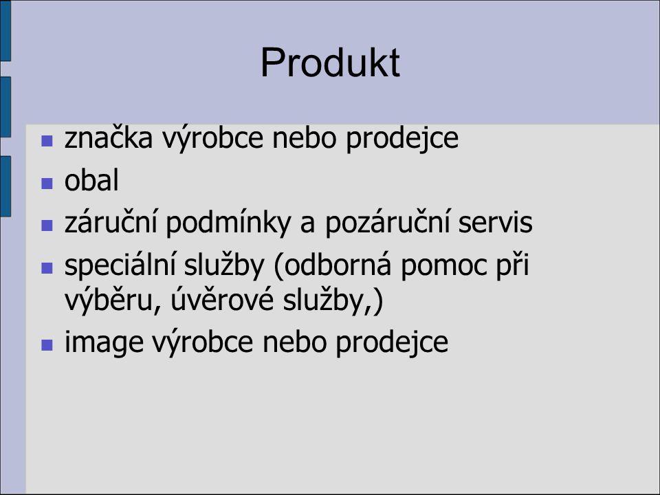 Produkt značka výrobce nebo prodejce obal záruční podmínky a pozáruční servis speciální služby (odborná pomoc při výběru, úvěrové služby,) image výrobce nebo prodejce