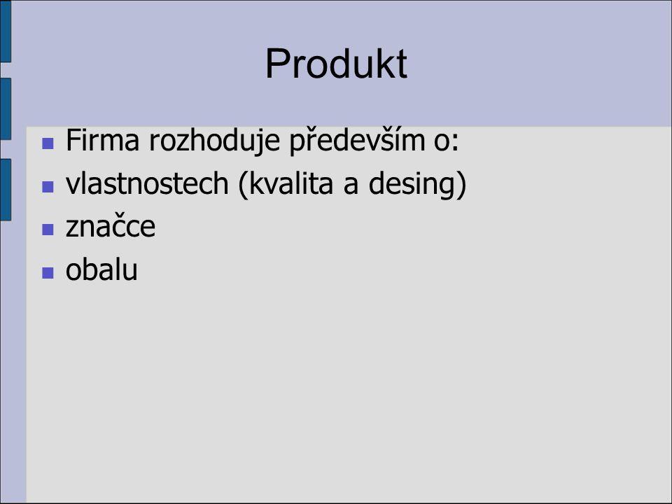 Produkt Firma rozhoduje především o: vlastnostech (kvalita a desing) značce obalu