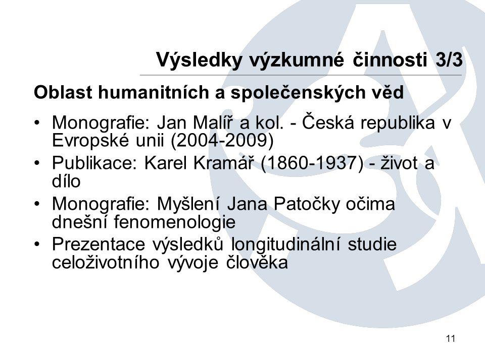 11 Výsledky výzkumné činnosti 3/3 Oblast humanitních a společenských věd Monografie: Jan Malíř a kol. - Česká republika v Evropské unii (2004-2009) Pu