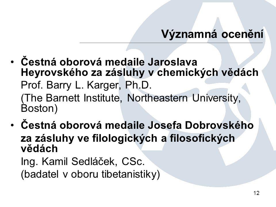 12 Čestná oborová medaile Jaroslava Heyrovského za zásluhy v chemických vědách Prof.