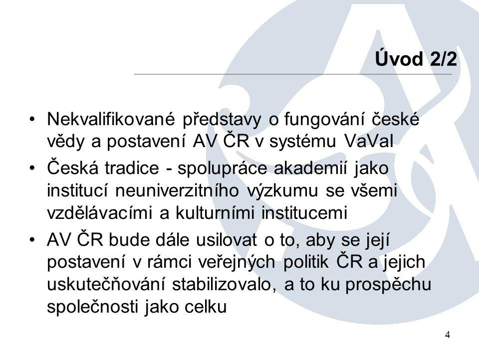 4 Nekvalifikované představy o fungování české vědy a postavení AV ČR v systému VaVaI Česká tradice - spolupráce akademií jako institucí neuniverzitního výzkumu se všemi vzdělávacími a kulturními institucemi AV ČR bude dále usilovat o to, aby se její postavení v rámci veřejných politik ČR a jejich uskutečňování stabilizovalo, a to ku prospěchu společnosti jako celku Úvod 2/2