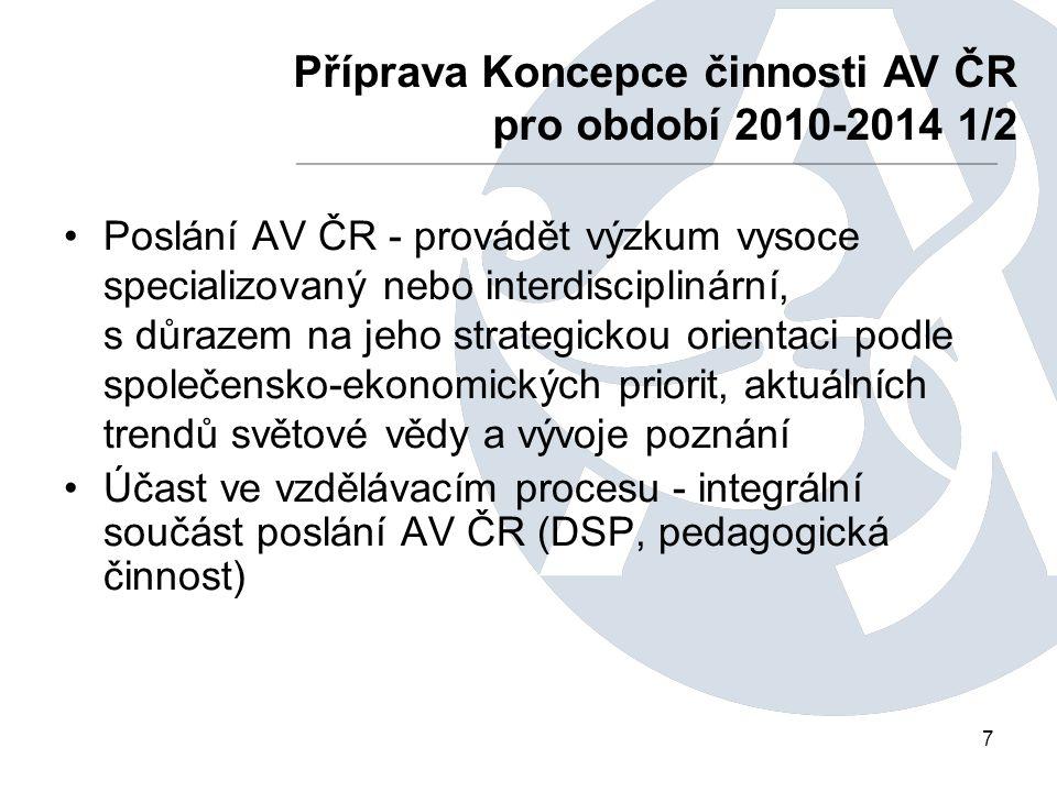 7 Poslání AV ČR - provádět výzkum vysoce specializovaný nebo interdisciplinární, s důrazem na jeho strategickou orientaci podle společensko-ekonomický