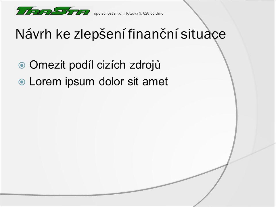 společnost s r.o., Holzova 9, 628 00 Brno Návrh ke zlepšení finanční situace  Omezit podíl cizích zdrojů  Lorem ipsum dolor sit amet