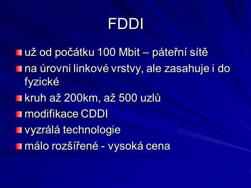 FDDI už od počátku 100 Mbit – páteřní sítě na úrovni linkové vrstvy, ale zasahuje i do fyzické kruh až 200km, až 500 uzlů modifikace CDDI vyzrálá technologie málo rozšířené - vysoká cena