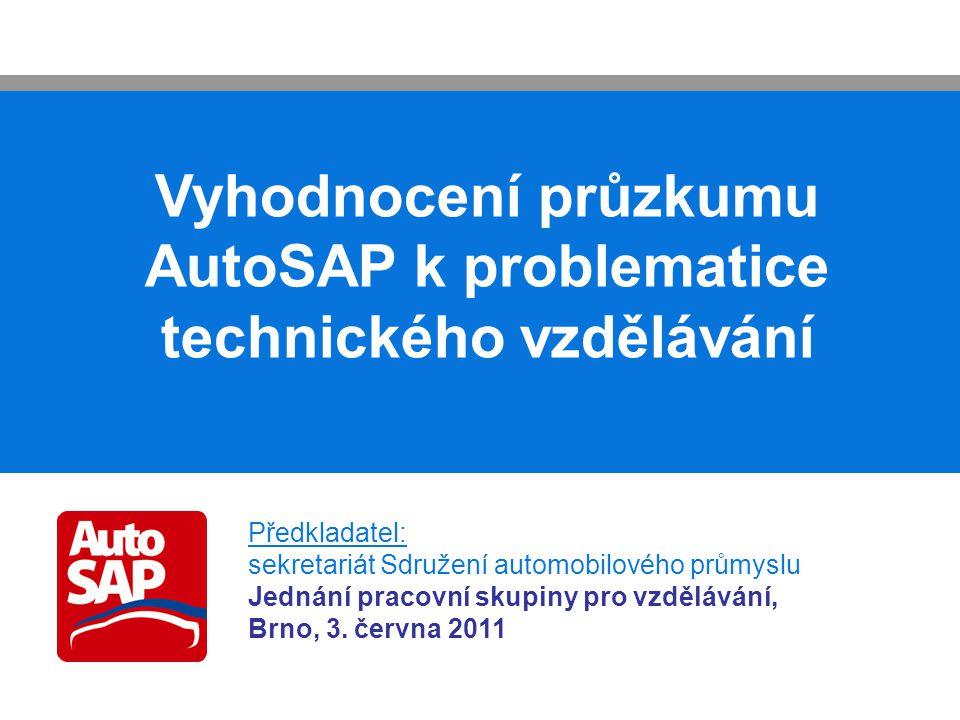 Vyhodnocení průzkumu AutoSAP k problematice technického vzdělávání Předkladatel: sekretariát Sdružení automobilového průmyslu Jednání pracovní skupiny pro vzdělávání, Brno, 3.