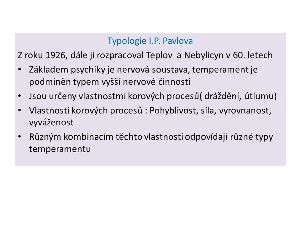 Typologie I.P. Pavlova Z roku 1926, dále ji rozpracoval Teplov a Nebylicyn v 60. letech Základem psychiky je nervová soustava, temperament je podmíněn