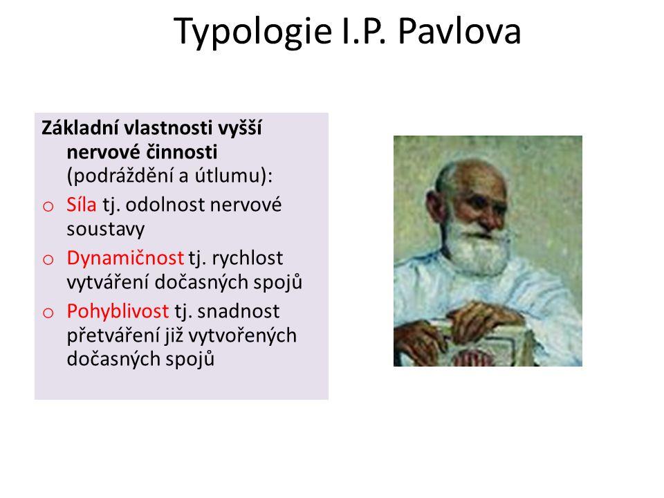 Typologie I.P. Pavlova Základní vlastnosti vyšší nervové činnosti (podráždění a útlumu): o Síla tj. odolnost nervové soustavy o Dynamičnost tj. rychlo
