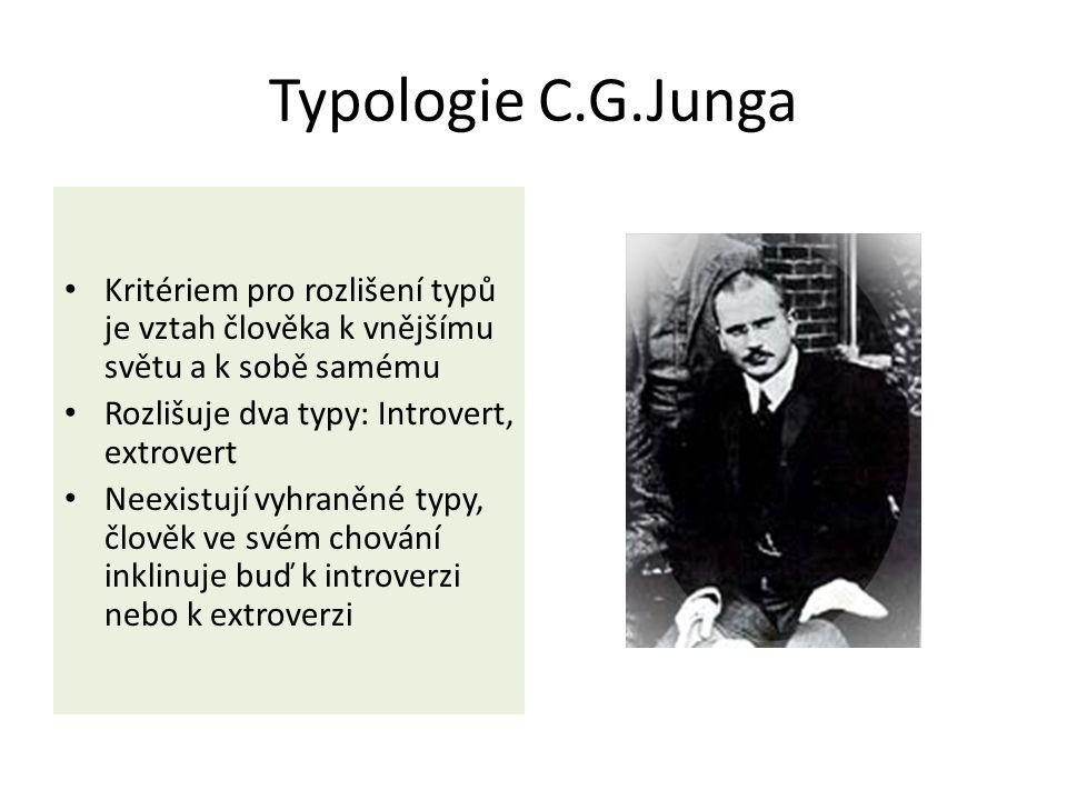 Typologie C.G.Junga Kritériem pro rozlišení typů je vztah člověka k vnějšímu světu a k sobě samému Rozlišuje dva typy: Introvert, extrovert Neexistují