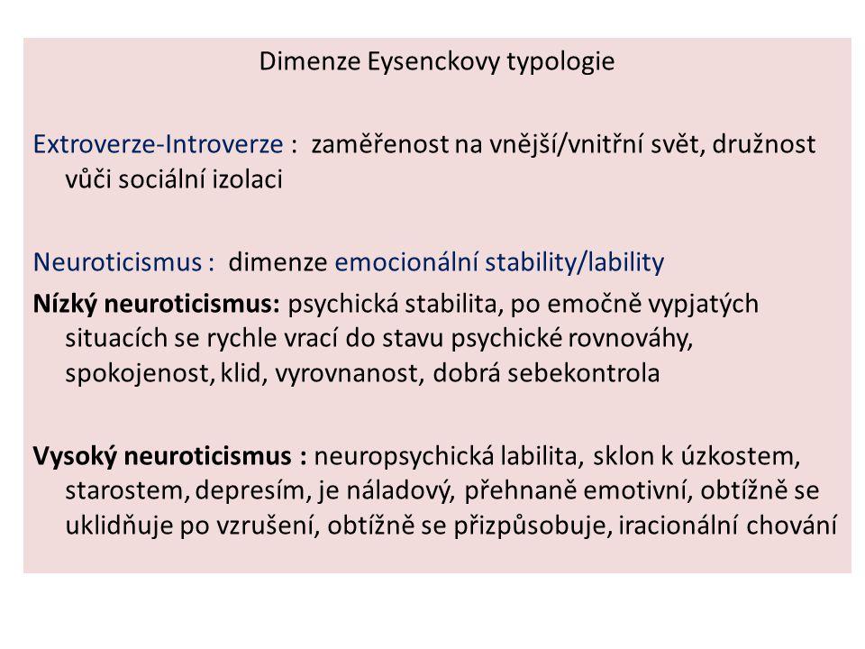 Dimenze Eysenckovy typologie Extroverze-Introverze : zaměřenost na vnější/vnitřní svět, družnost vůči sociální izolaci Neuroticismus : dimenze emocion