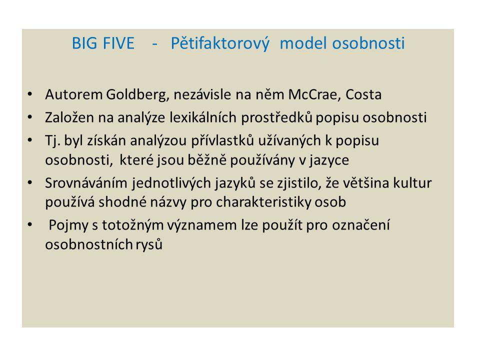 BIG FIVE - Pětifaktorový model osobnosti Autorem Goldberg, nezávisle na něm McCrae, Costa Založen na analýze lexikálních prostředků popisu osobnosti T