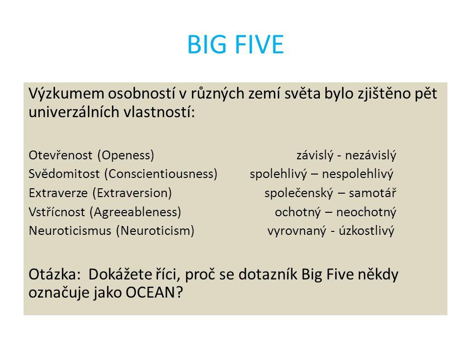 BIG FIVE Výzkumem osobností v různých zemí světa bylo zjištěno pět univerzálních vlastností: Otevřenost (Openess) závislý - nezávislý Svědomitost (Con