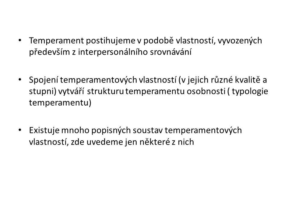 Temperament postihujeme v podobě vlastností, vyvozených především z interpersonálního srovnávání Spojení temperamentových vlastností (v jejich různé k