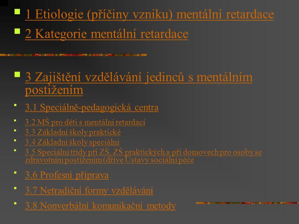 1 Etiologie (příčiny vzniku) mentální retardace 2 Kategorie mentální retardace 3 Zajištění vzdělávání jedinců s mentálním postižením 3 Zajištění vzděl