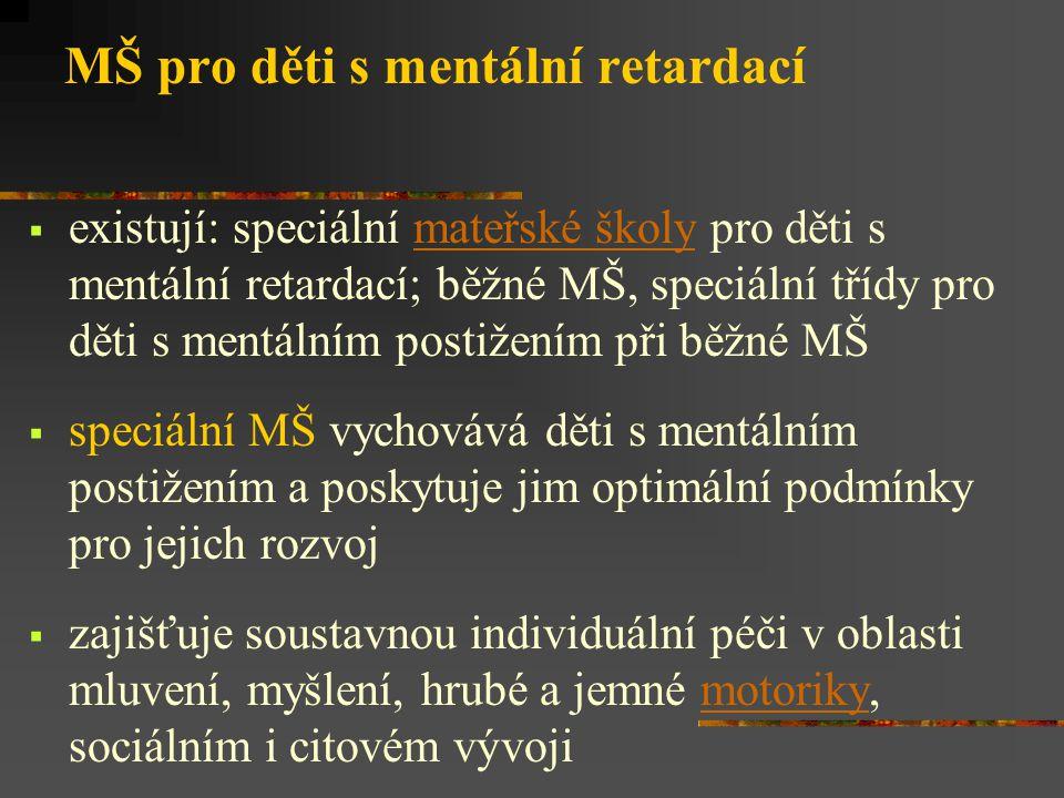 MŠ pro děti s mentální retardací  existují: speciální mateřské školy pro děti s mentální retardací; běžné MŠ, speciální třídy pro děti s mentálním postižením při běžné MŠmateřské školy  speciální MŠ vychovává děti s mentálním postižením a poskytuje jim optimální podmínky pro jejich rozvoj  zajišťuje soustavnou individuální péči v oblasti mluvení, myšlení, hrubé a jemné motoriky, sociálním i citovém vývojimotoriky