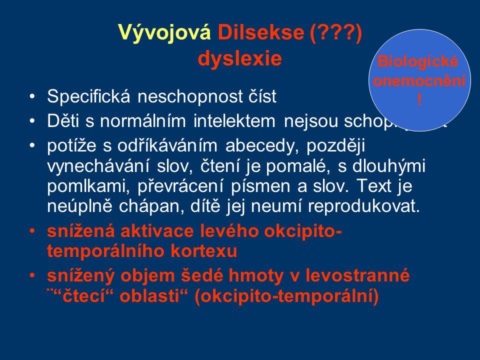 Vývojová Dilsekse (???) dyslexie Specifická neschopnost číst Děti s normálním intelektem nejsou schopny číst potíže s odříkáváním abecedy, později vyn