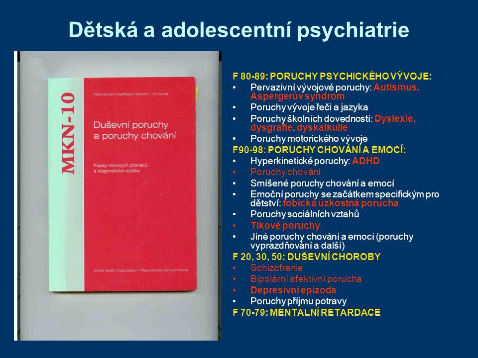 PORUCHY CHOVÁNÍ PRŮBĚH: dva typy: s dobrou prognozou Socializovaná porucha chování, Poruchy chování ve vztahu k rodině (upraví se) špatnou prognózou Nesocializovaná porucha chování, Porucha opozičního vzdoru (ústi do disociální poruchy osobnosti v dospělosti - 25-40%) TERAPIE: intervence směřuji kromě postižených i k rodině a sociálnímu okolí (rodinná terapie, skupinová terapie pro členy rodiny, kognitivně behaviorální terapie) někdy nutné represivní opatření (ochranná výchova) psychofarmaka výjimečně k mírnění agresivity