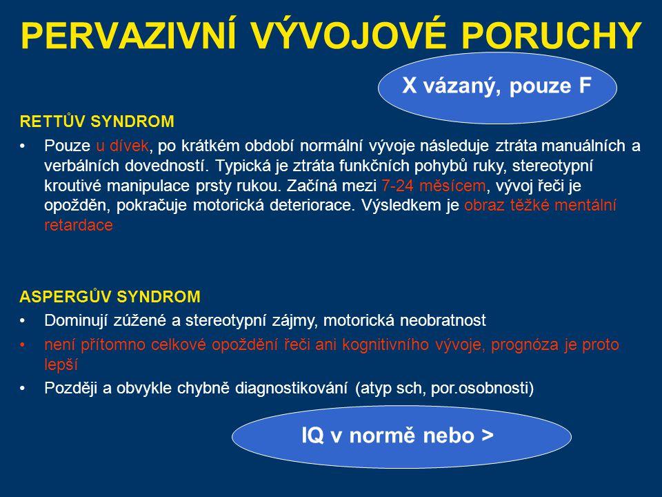5% schizofrenii začíná před 15 rokem (typická období 21/2 – 4 a 11-16).
