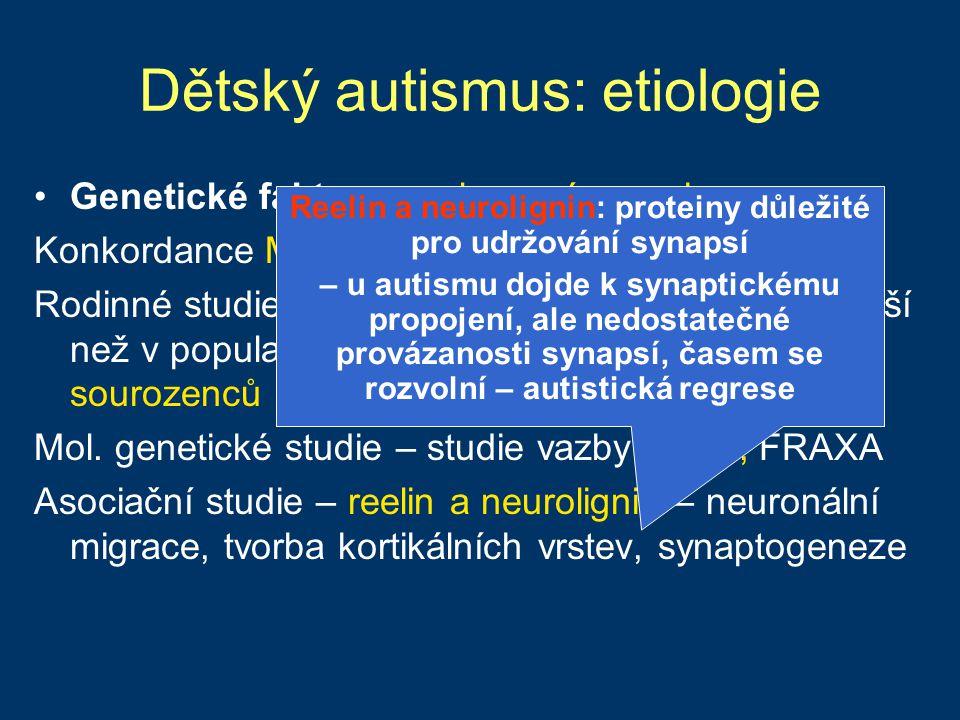 Hyperkinetická porucha ADHD (Attention deficit/hyperactivity disorder) ~ 5% dětí školního věku (~3% dospělých), chlapci 3-4x častěji Polygenetická porucha, heritabilita 60-80% (MZ konkordance 11-18x vyšší než u DZ) dopaminový transportér DAT - asociace s ADHD (PET: zvýšená funkce DAT u 70 % dospělých s ADHD) dopaminový receptor D4 DRD4 Prenatální a perinatální faktory - dopaminergní systém je citlivý na hypoxii (kouření v těhotenství)