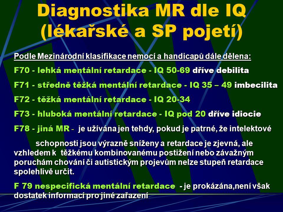Diagnostika MR dle IQ (lékařské a SP pojetí) Podle Mezinárodní klasifikace nemocí a handicapů dále dělena: F70 - lehká mentální retardace - IQ 50-69 d
