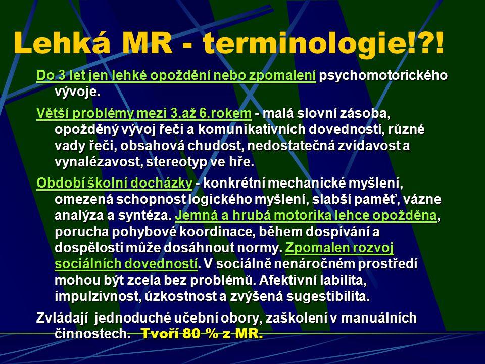 Lehká MR - terminologie!?! Do 3 let jen lehké opoždění nebo zpomalení psychomotorického vývoje. Větší problémy mezi 3.až 6.rokem - malá slovní zásoba,
