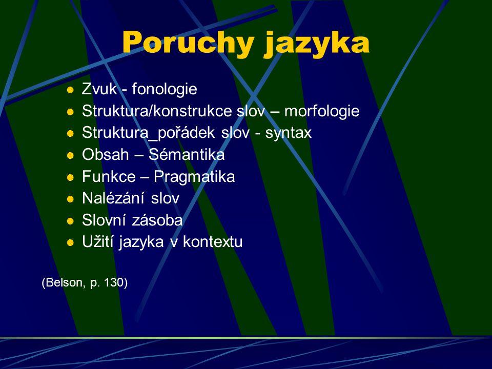 Poruchy jazyka Zvuk - fonologie Struktura/konstrukce slov – morfologie Struktura_pořádek slov - syntax Obsah – Sémantika Funkce – Pragmatika Nalézání