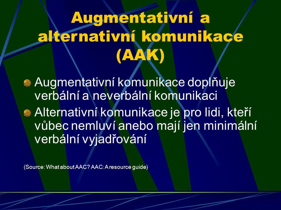 Augmentativní a alternativní komunikace (AAK) Augmentativní komunikace doplňuje verbální a neverbální komunikaci Alternativní komunikace je pro lidi,