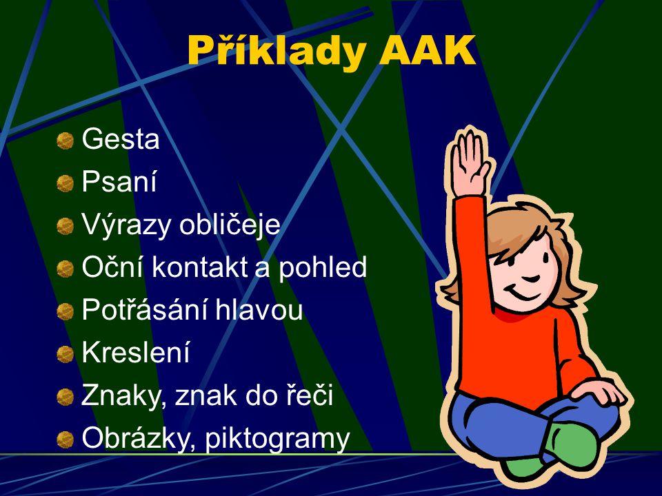 Příklady AAK Gesta Psaní Výrazy obličeje Oční kontakt a pohled Potřásání hlavou Kreslení Znaky, znak do řeči Obrázky, piktogramy